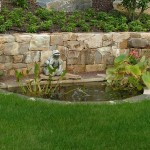Millcreek Landscape Design small pond with frog water feature and planting