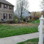 Millcreek Landscape Design stone backyard patio design before photo