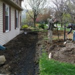 Millcreek Landscape Design workers digging out grass and dirt around trees