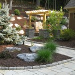 Millcreek Landscape Design stone pathway with planting and mulching wrapping around house