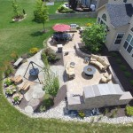 Millcreek Landscaping Design backyard hardscape patio design with grill, tv, and seating area view from above