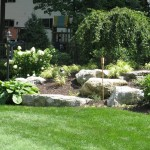 Millcreek Landscape Design landscape design in backyard with accents lights, large rocks, and planting