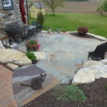 paver patio with furniture & cat