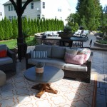 wicker furniture in outdoor living space