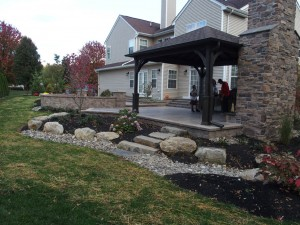 outdoor kitchen with stone fireplace