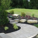 Millcreek Landscape Design walkway, stone staircase, and mulching
