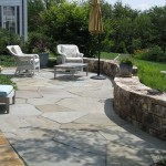 stone paver patio with retaining wall